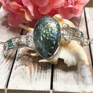 Jewelry - NWOT Huge Stunning Abalone Shell Silver Bracelet!
